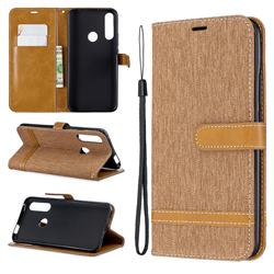 Jeans Cowboy Denim Leather Wallet Case for Huawei P Smart Z (2019) - Brown