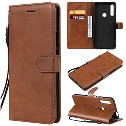 Retro Greek Classic Smooth PU Leather Wallet Phone Case for Huawei P Smart Z (2019) - Brown