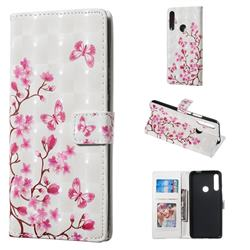 Butterfly Sakura Flower 3D Painted Leather Phone Wallet Case for Huawei P Smart Z (2019)