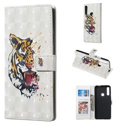 Toothed Tiger 3D Painted Leather Phone Wallet Case for Huawei P Smart Z (2019)