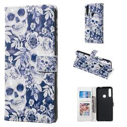 Skull Flower 3D Painted Leather Phone Wallet Case for Huawei P Smart Z (2019)