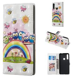 Rainbow Owl Family 3D Painted Leather Phone Wallet Case for Huawei P Smart Z (2019)