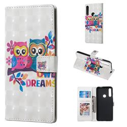Couple Owl 3D Painted Leather Phone Wallet Case for Huawei P Smart Z (2019)