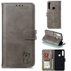 Embossing Happy Cat Leather Wallet Case for Huawei P Smart Z (2019) - Gray