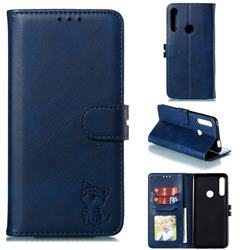 Embossing Happy Cat Leather Wallet Case for Huawei P Smart Z (2019) - Blue