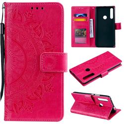 Intricate Embossing Datura Leather Wallet Case for Huawei P Smart Z (2019) - Rose Red