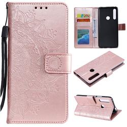 Intricate Embossing Datura Leather Wallet Case for Huawei P Smart Z (2019) - Rose Gold