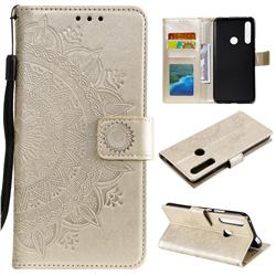 Intricate Embossing Datura Leather Wallet Case for Huawei P Smart Z (2019) - Golden
