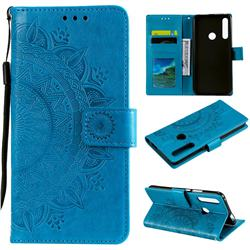 Intricate Embossing Datura Leather Wallet Case for Huawei P Smart Z (2019) - Blue