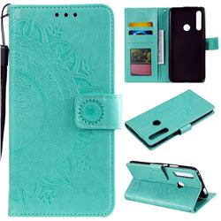 Intricate Embossing Datura Leather Wallet Case for Huawei P Smart Z (2019) - Mint Green