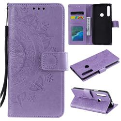 Intricate Embossing Datura Leather Wallet Case for Huawei P Smart Z (2019) - Purple