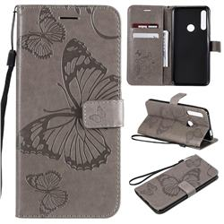Embossing 3D Butterfly Leather Wallet Case for Huawei P Smart Z (2019) - Gray