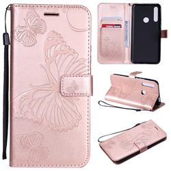 Embossing 3D Butterfly Leather Wallet Case for Huawei P Smart Z (2019) - Rose Gold