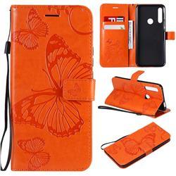 Embossing 3D Butterfly Leather Wallet Case for Huawei P Smart Z (2019) - Orange