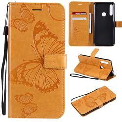Embossing 3D Butterfly Leather Wallet Case for Huawei P Smart Z (2019) - Yellow