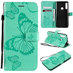 Embossing 3D Butterfly Leather Wallet Case for Huawei P Smart Z (2019) - Green