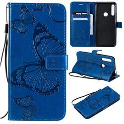 Embossing 3D Butterfly Leather Wallet Case for Huawei P Smart Z (2019) - Blue