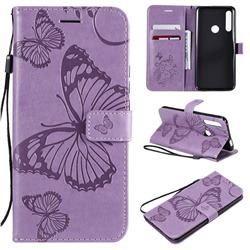 Embossing 3D Butterfly Leather Wallet Case for Huawei P Smart Z (2019) - Purple