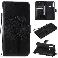 Embossing Butterfly Tree Leather Wallet Case for Huawei P Smart Z (2019) - Black
