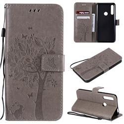 Embossing Butterfly Tree Leather Wallet Case for Huawei P Smart Z (2019) - Grey