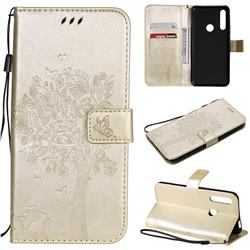 Embossing Butterfly Tree Leather Wallet Case for Huawei P Smart Z (2019) - Champagne