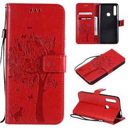 Embossing Butterfly Tree Leather Wallet Case for Huawei P Smart Z (2019) - Red
