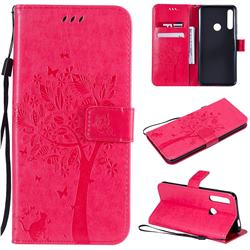 Embossing Butterfly Tree Leather Wallet Case for Huawei P Smart Z (2019) - Rose