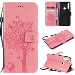 Embossing Butterfly Tree Leather Wallet Case for Huawei P Smart Z (2019) - Pink