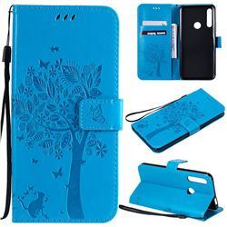 Embossing Butterfly Tree Leather Wallet Case for Huawei P Smart Z (2019) - Blue