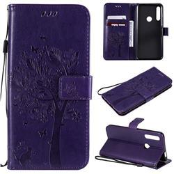 Embossing Butterfly Tree Leather Wallet Case for Huawei P Smart Z (2019) - Purple