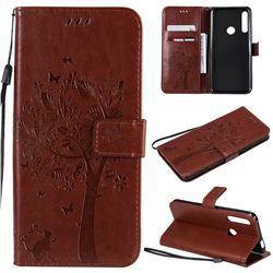 Embossing Butterfly Tree Leather Wallet Case for Huawei P Smart Z (2019) - Coffee