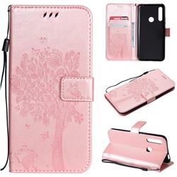 Embossing Butterfly Tree Leather Wallet Case for Huawei P Smart Z (2019) - Rose Pink