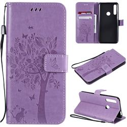 Embossing Butterfly Tree Leather Wallet Case for Huawei P Smart Z (2019) - Violet