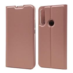 Ultra Slim Card Magnetic Automatic Suction Leather Wallet Case for Huawei P Smart Z (2019) - Rose Gold