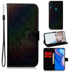 Laser Circle Shining Leather Wallet Phone Case for Huawei P Smart Z (2019) - Black