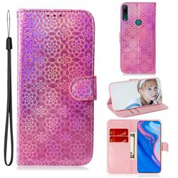 Laser Circle Shining Leather Wallet Phone Case for Huawei P Smart Z (2019) - Pink