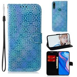 Laser Circle Shining Leather Wallet Phone Case for Huawei P Smart Z (2019) - Blue