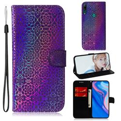 Laser Circle Shining Leather Wallet Phone Case for Huawei P Smart Z (2019) - Purple