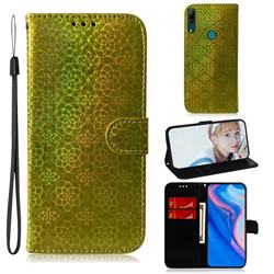 Laser Circle Shining Leather Wallet Phone Case for Huawei P Smart Z (2019) - Golden