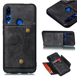 Retro Multifunction Card Slots Stand Leather Coated Phone Back Cover for Huawei P Smart Z (2019) - Black