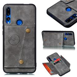 Retro Multifunction Card Slots Stand Leather Coated Phone Back Cover for Huawei P Smart Z (2019) - Gray