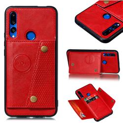 Retro Multifunction Card Slots Stand Leather Coated Phone Back Cover for Huawei P Smart Z (2019) - Red