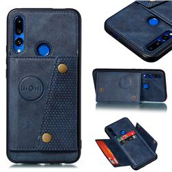 Retro Multifunction Card Slots Stand Leather Coated Phone Back Cover for Huawei P Smart Z (2019) - Blue