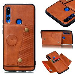 Retro Multifunction Card Slots Stand Leather Coated Phone Back Cover for Huawei P Smart Z (2019) - Brown