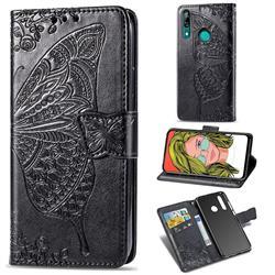 Embossing Mandala Flower Butterfly Leather Wallet Case for Huawei P Smart Z (2019) - Black
