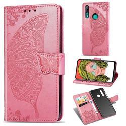 Embossing Mandala Flower Butterfly Leather Wallet Case for Huawei P Smart Z (2019) - Pink