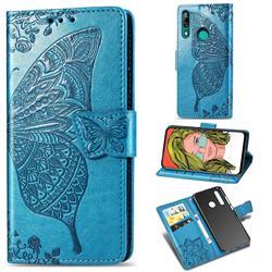 Embossing Mandala Flower Butterfly Leather Wallet Case for Huawei P Smart Z (2019) - Blue