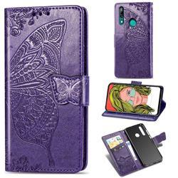 Embossing Mandala Flower Butterfly Leather Wallet Case for Huawei P Smart Z (2019) - Dark Purple