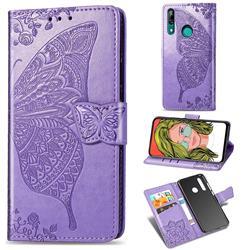Embossing Mandala Flower Butterfly Leather Wallet Case for Huawei P Smart Z (2019) - Light Purple
