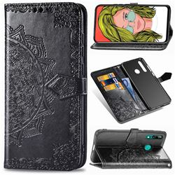 Embossing Imprint Mandala Flower Leather Wallet Case for Huawei P Smart Z (2019) - Black